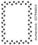 dog paw prints border on white... | Shutterstock . vector #327946814