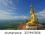 buddha on the top of  wat tham... | Shutterstock . vector #327947828