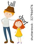 opposite adjectives tall and... | Shutterstock .eps vector #327966476