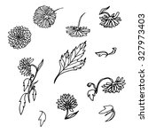 vector set of hand drawn aster... | Shutterstock .eps vector #327973403