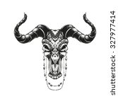 bull skull with traditional... | Shutterstock .eps vector #327977414