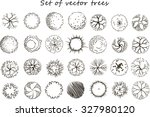 set of graphic trees  top view  ... | Shutterstock .eps vector #327980120