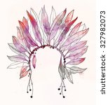 headdress of indian with... | Shutterstock . vector #327982073
