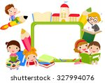 kids and banner | Shutterstock .eps vector #327994076