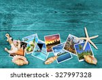 travel photos and seashells on... | Shutterstock . vector #327997328