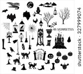 halloween silhouettes. set of ... | Shutterstock .eps vector #327999074
