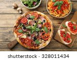 top view pizza pasta with... | Shutterstock . vector #328011434