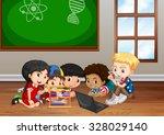 children working in classroom... | Shutterstock .eps vector #328029140