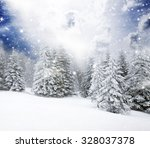 christmas background with snowy ... | Shutterstock . vector #328037378