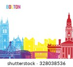 bolton skyline pop in editable... | Shutterstock .eps vector #328038536