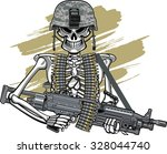 skull with army helmet and m249 ... | Shutterstock .eps vector #328044740