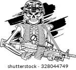 skull with army helmet and m249 ... | Shutterstock .eps vector #328044749