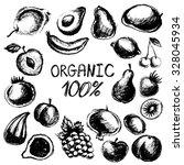 black graphic fruit set  vector ... | Shutterstock .eps vector #328045934