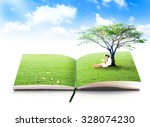 Small photo of Education concept. Land Book Tree Aim Right Effort Endeavor Try Exertion Assiduity Child Peace School Ecology Relax Calm Quiet Placid Settled Still Sedate Soundless Restfull International Literacy Day