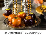 table with colored candy apples ... | Shutterstock . vector #328084430