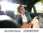 inside shot of a car with woman ... | Shutterstock . vector #328085504