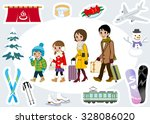 winter family tourist set | Shutterstock .eps vector #328086020