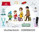 winter family tourist set | Shutterstock .eps vector #328086020
