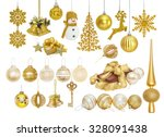Big set of golden Christmas New Year baubles for Christmas tree ornaments, pine, spruce, balls, snowflakes, bells, reindeer, snowman, gift, tip, top, key isolated on white