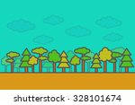 flat style  thin line forest.... | Shutterstock .eps vector #328101674