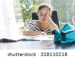a schoolgirl studying with... | Shutterstock . vector #328110218