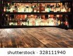 Wooden Desk Of Bar Interior...