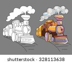 coloring book with train | Shutterstock .eps vector #328113638