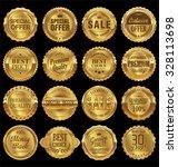 quality retro golden badges... | Shutterstock .eps vector #328113698