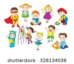 a colorful set of happy... | Shutterstock .eps vector #328134038