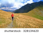 isolated backpacker departing... | Shutterstock . vector #328134620