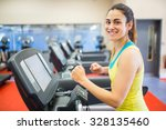 smiling woman running on a... | Shutterstock . vector #328135460