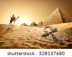 bedouin on camel near pyramids... | Shutterstock . vector #328137680