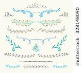 hand drawn christmas ornamental ... | Shutterstock .eps vector #328148090