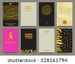 gold foil business cards or... | Shutterstock .eps vector #328161794