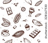 chocolate cacao pattern  bean ... | Shutterstock .eps vector #328167530