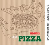 vector cardboard pizza menu... | Shutterstock .eps vector #328168478