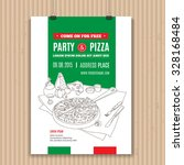 vector pizza party invitation.... | Shutterstock .eps vector #328168484