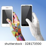 two hands holding smart phone... | Shutterstock .eps vector #328173500