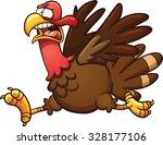 scared cartoon turkey. vector... | Shutterstock .eps vector #328177106