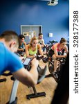 fit people in a spin class at... | Shutterstock . vector #328177388