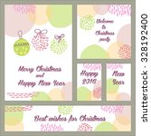 set of pastel hand drawn cards. ... | Shutterstock .eps vector #328192400
