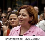NEW YORK - JUNE 28: NYC council speaker Christine Quinn speaks at press conference at pride parade on June 28 2009 in New York City. - stock photo