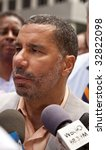NEW YORK - JUNE 28: NY state governor David Paterson speaks at press-confernce on pride parade on June 28 2009 in New York City. - stock photo