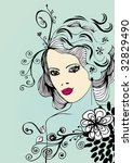 vector floral girl | Shutterstock .eps vector #32829490