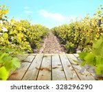 Wooden Table With Vineyard