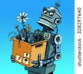 evil robot comes to work pop... | Shutterstock .eps vector #328297640