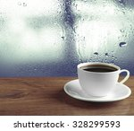 cup of coffee on table on... | Shutterstock . vector #328299593