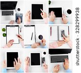 collage of photos with hands... | Shutterstock . vector #328299938