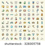 set of 100 minimalistic solid... | Shutterstock .eps vector #328305758
