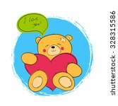 "postcard ""teddy bear with heart"" 